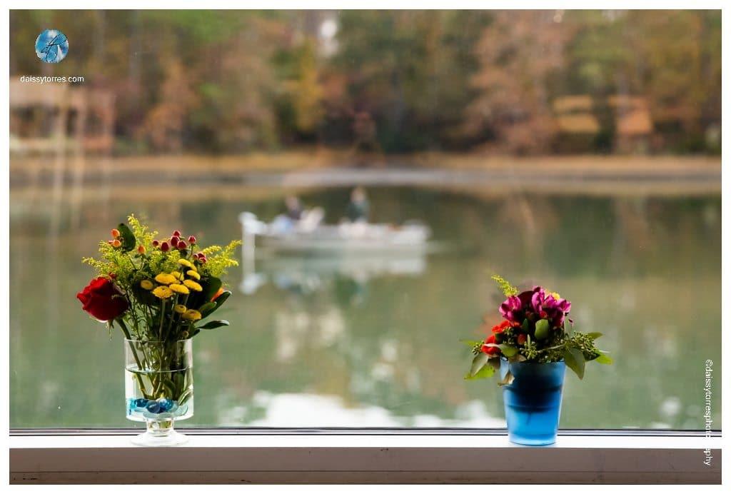 Virginia Aquarium Wedding - A boat overlooks behind Jaime and Nathan's Wedding Decorations