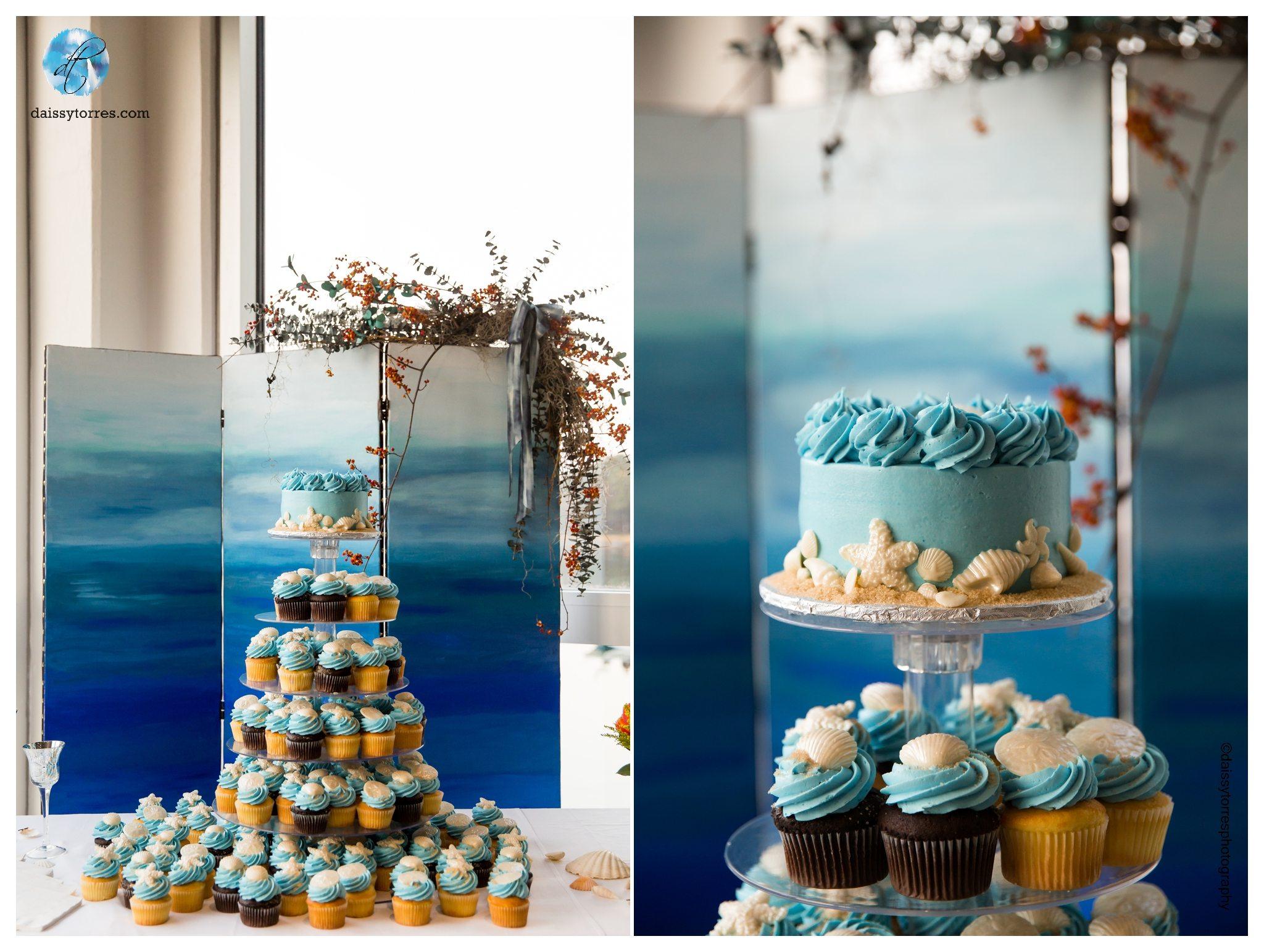 Virginia Aquarium Wedding - Cake and Cupcakes by Sugar Plum Bakery