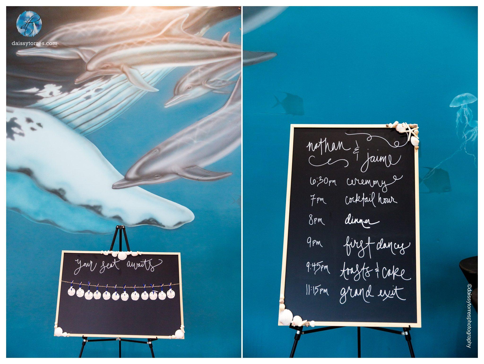 Virginia Aquarium Wedding - Chalk wedding signs